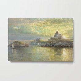 Harbor entrance on Bull Point, Newport Harbor, Newport, Rhode Island by William Trost Richards Metal Print