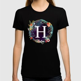 Personalized Monogram Initial Letter H Floral Wreath Artwork T-shirt