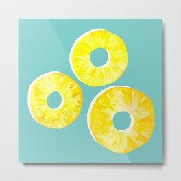 3 Pineapple Slices  Metal Print