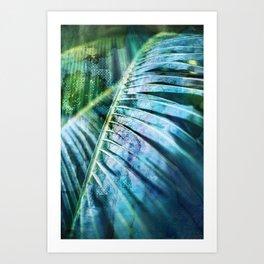 Colorful Mixed Media Art Tropical Palm Leaves Art Print