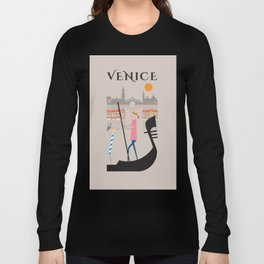 Venice - In the City  - Retro Travel Poster Design Long Sleeve T-shirt