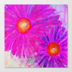 Bright Pink Sketch Flowers Canvas Print