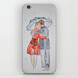 lovers in the rain iPhone Skin