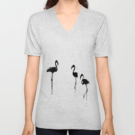 We Are The Three Flamingos Silhouette In Black Unisex V-Neck