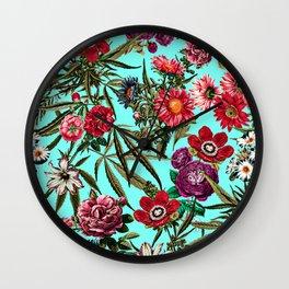 Marijuana and Floral Pattern II Wall Clock