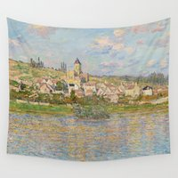 monet Wall Tapestries featuring Vetheuil by Claude Monet by Palazzo Art Gallery