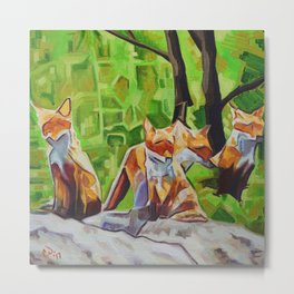 Fox Cub Four Metal Print