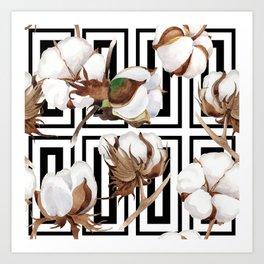 Cotton Flower Pattern 07 Art Print