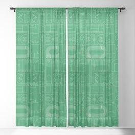 Sport Courts Pattern Art Sheer Curtain