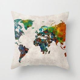 World Map 61 Throw Pillow