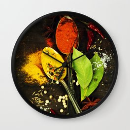 Bright spices on an old  wooden board Wall Clock