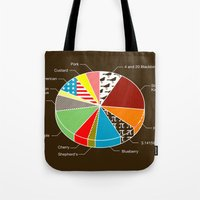 pie Tote Bags featuring Pie Chart by Graham Dobson