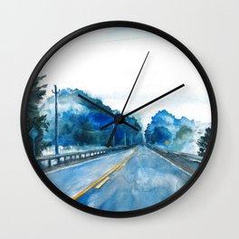 Misty Highway Wall Clock