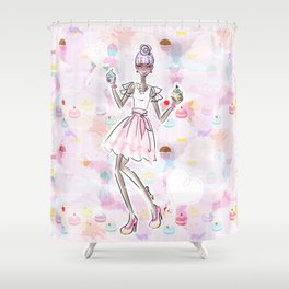 Cupcake Party Girl Shower Curtain