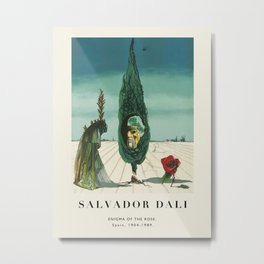 Poster-Salvador Dali-Enigma of the Rose. Metal Print