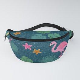 Bohemian nonchalance tropical flamingo pattern on dark background Fanny Pack