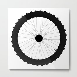 Bicycle Wheel Silhouette Metal Print