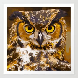 Wise Old Owl (Digital Painting) Art Print