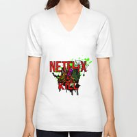 netflix V-neck T-shirts featuring Netflix and Kill (Halloween) by 11thdimensioncomedy