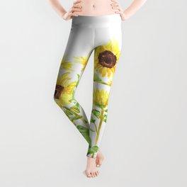 sunflowers watercolor horizontal  Leggings