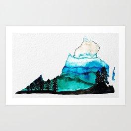 Blue Ridge Mountains Watercolor Small Art Print