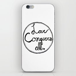 Love Conquers All B&W Zentangle Drawing Print iPhone Skin