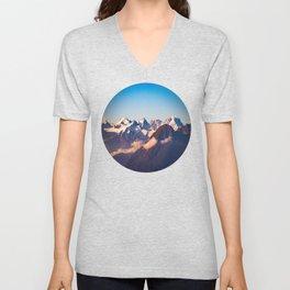 Himalayan Snow Mountains Round Photo Unisex V-Neck