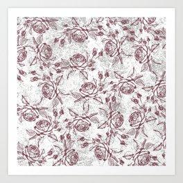 Vintage white gray burgundy floral marble Art Print