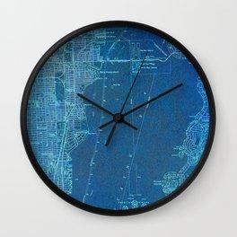 13-Miami Florida 1950, blue vintage map Wall Clock