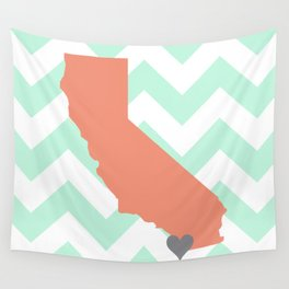 San Diego California in Coral on Mint Chevron Wall Tapestry