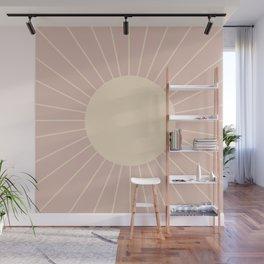 Minimal Sunrays - Neutral Pink Wall Mural