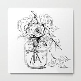 Rose flowers bouquet in a jar Metal Print