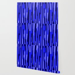 Geometric Blue Black Painting Wallpaper
