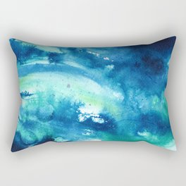Watercolor Abstract, Indigo Blue Green Rectangular Pillow
