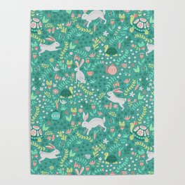Spring Pattern of Bunnies with Turtles Poster