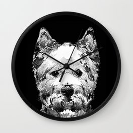 Black And White West Highland Terrier Dog Art Sharon Cummings Wall Clock