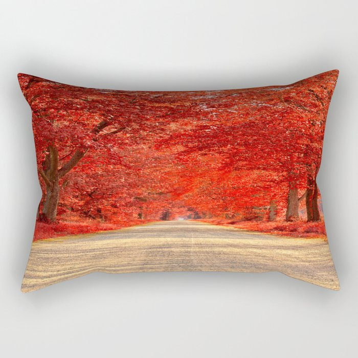 Red Forest Autumn Path Rectangular Pillow