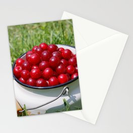 Prunus cerasus sour cherry fruits Stationery Cards