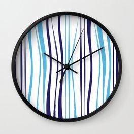 Blue Tree Lines Wall Clock
