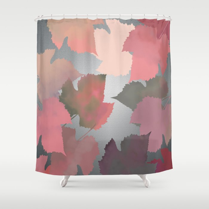 Metallic Autumn Leaves Shower Curtain By Retailtherapyparadise