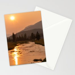 Sunset and Reflection on the River at Yellowstone National Park Stationery Cards