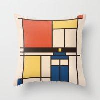 mondrian Throw Pillows featuring Mondrian Who by Perdita