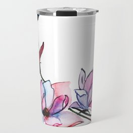 Watercolor Spring Floral and Leaves Collection Travel Mug
