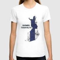 finland T-shirts featuring Finland / Suomen Tasavalta by Dandy Octopus