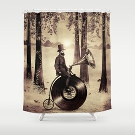Music Man in the Forest, by Eric Fan and Viviana González Shower Curtain