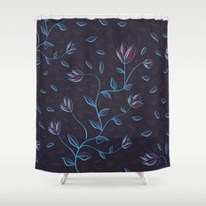 Abstract Glowing Blue Flowers Shower Curtain