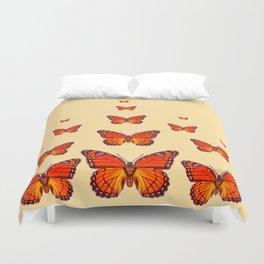 ORANGE MONARCH BUTTERFLIES CREAMY YELLOW Duvet Cover