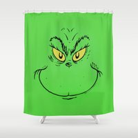 dr seuss Shower Curtains featuring How The Grinch Stole Christmas (Dr. Seuss) by TOM / TOM