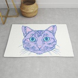 Purple Kitty Cat Head Illustration  Rug