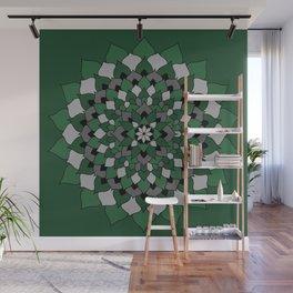 Green & Silver Floral Mandala Wall Mural